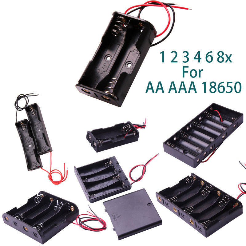 Glyduino 1 2 3 4 6 8x For AA AAA 18650 Connection Battery Compartment Case Lid Sealed And Half Open Battery Holder Box(China)