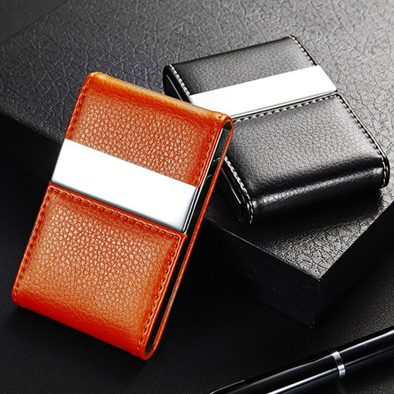 Stainless Steel Credit Card Holder Faux Leather Case Box ID Business Card Holders Fashion Women's Travel Passport Cover Holder stainless steel aluminium metal case box men business credit card
