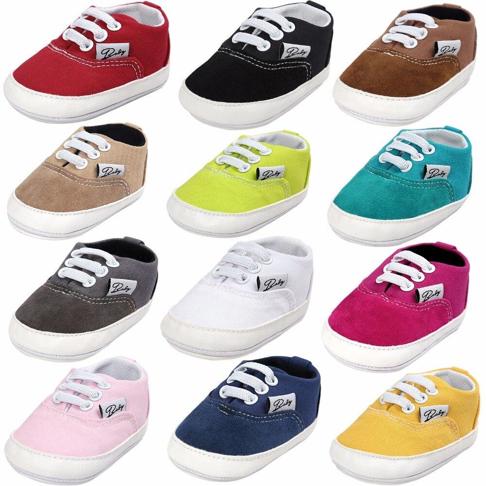 Baby Baby Babyschoenen Mode Ondiepe Canvas Mocassins Lace-Up Sneakers - Baby schoentjes - Foto 3