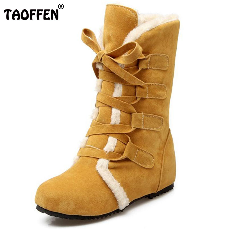 TAOFFEN Size 30-52 Russia Women Round Toe Height Increasing Mid Calf Boots Woman Cross Strap Warm Fur Winter Half Shoes Footwear double buckle cross straps mid calf boots