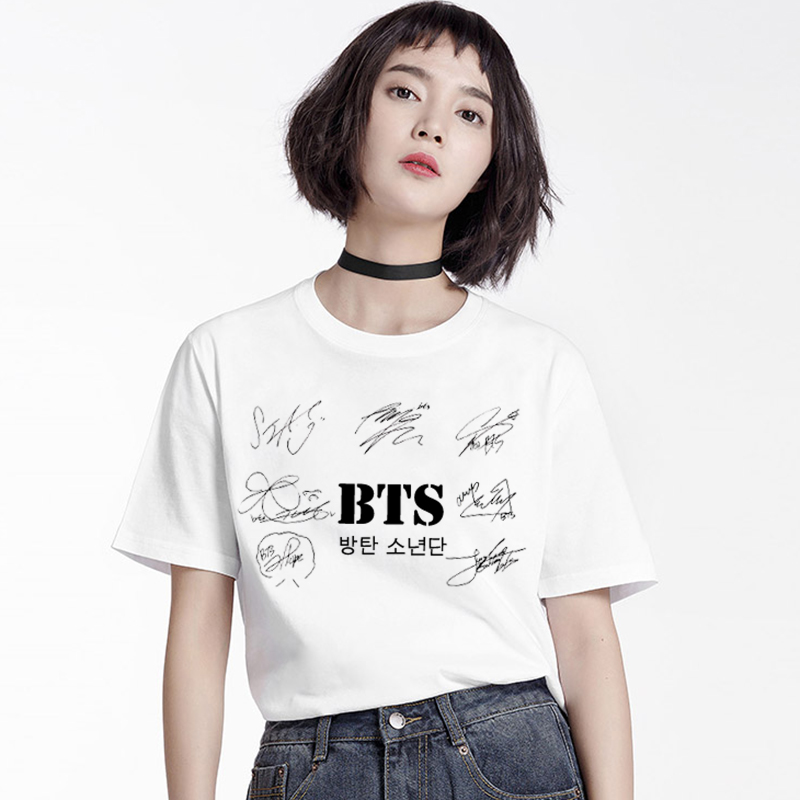 Bts Merch Shop  Bts Signature Print Womens T-Shirt  Bts Merchandise-9128