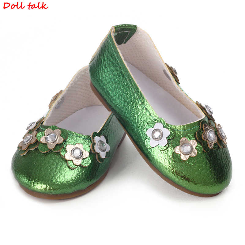 Green Color Stars Doll Shoes 7.5cm Fashion Cool Mini Shoes For American Russian DIY Dolls Girl Beautiful Accessoroes Wholesale