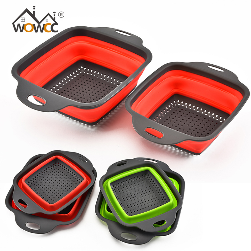 WOWCC Foldable Fruit Vegetable Washing Basket Strainer Portable Silicone Colander Collapsible Drainer With Handle Kitchen Tools