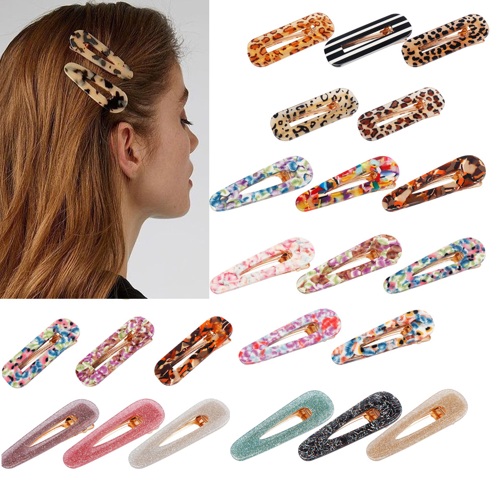 Cheer Bow Hair Accessories Hair Clips For Hair Women Girls Acrylic Hollow Barrettes Waterdrop Hairpins Hair Barrettes For Women