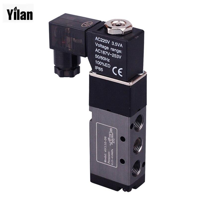5 Way 2 Position Airtac Electric Solenoid Valve 4V210-08 DC 24V DC12V AC110V AC220V 1/4