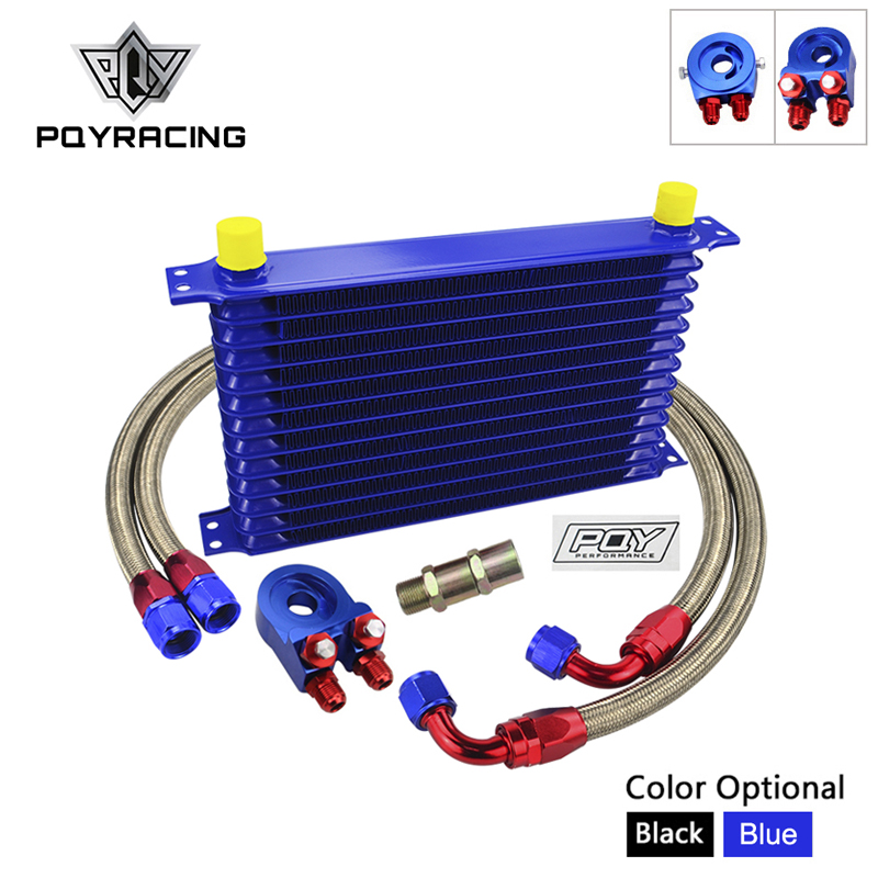 UNIVERSAL 13ROWS TRUST TYPE OIL COOLER KIT OIL FILTER ADAPTER NYLON BRAIDED HOSE AN10 HOSE WITH
