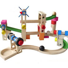 wooden toy child multifunction roller track construction building blocks early learning toys