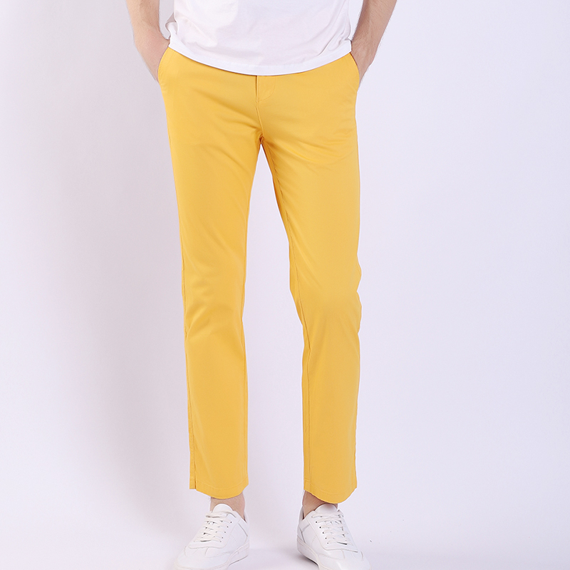 Yellow Pants Business-Suits Suittrousers Stripe Large-Size Fashion 30-40 Slim Spring