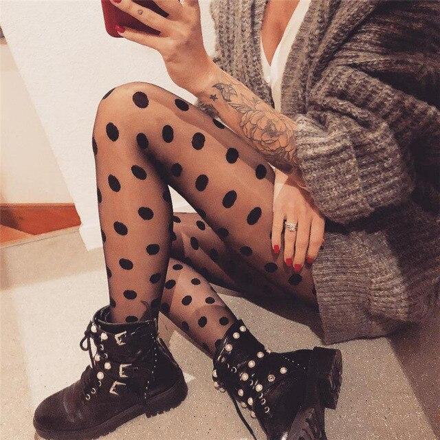 Женские колготки, классические шелковые чулки в горошек, Женские винтажные чулки в горошек с искусственными татуировками, колготки, женские Hosiery.2 цвета