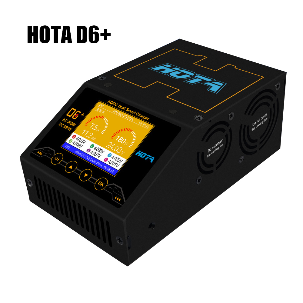 HOTA D6+ Plus AC 300W DC 2X325W 2X15A Dual Channel Smart Battery Charger Discharger Lipo Charger For RC Drone Spare Parts