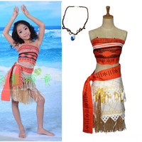 Kid S Princess Moana Costume Children Fancy Dress Cosplay Party Girl Costume With Necklace Free