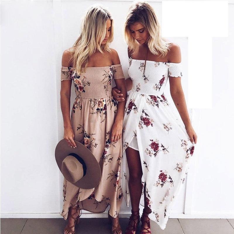 Dresses Off Shoulder Chiffon Panjang Musim Panas Gaun Sundress Sexy - Pakaian Wanita - Foto 1