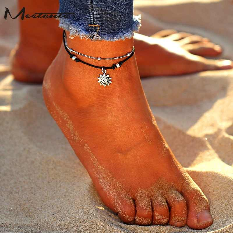 Meetcute Vintage Multiple Layers Anklets For Women Elephant Sun Pendant Rope Chain Beach Summer Foot Ankle Bracelet Jewelry
