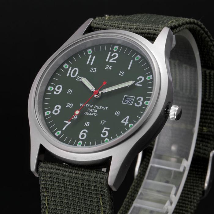 HTB1ILasaTlYBeNjSszcq6zwhFXaQ Fashion Men Military Watch Quartz Analog Clock Canvas Wristband Sports Army Waterproof Wristwatch ~ @88 LXH
