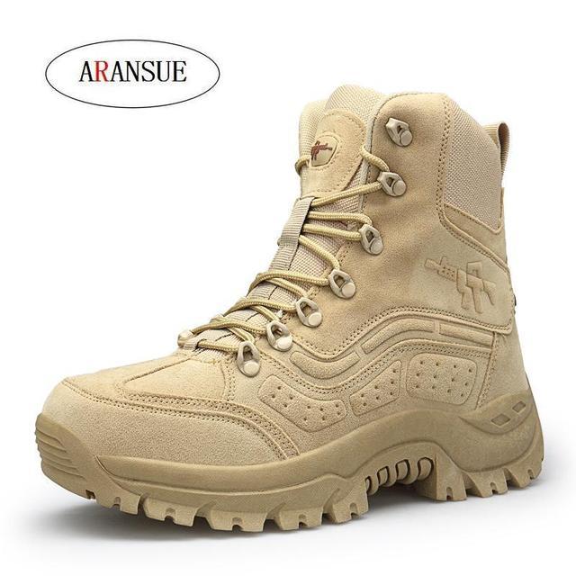 ARANSUE 2018 new autumn winter men army boots fashion motorcycle boot lace up shoes flock resistance botas plus size botte