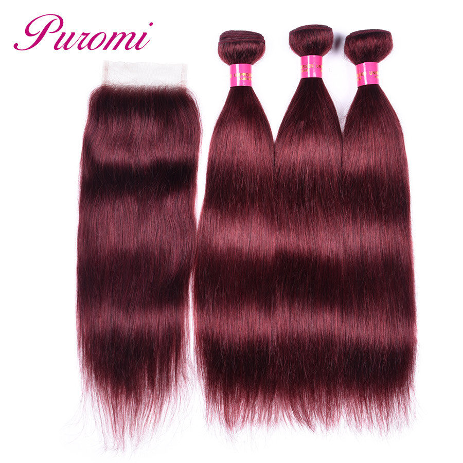 Puromi Straight Hair Bundles With Lace Closure Pre Colored 99j Brazilian Hair Weave 3 Bundles With Closure Non remy Human Hair