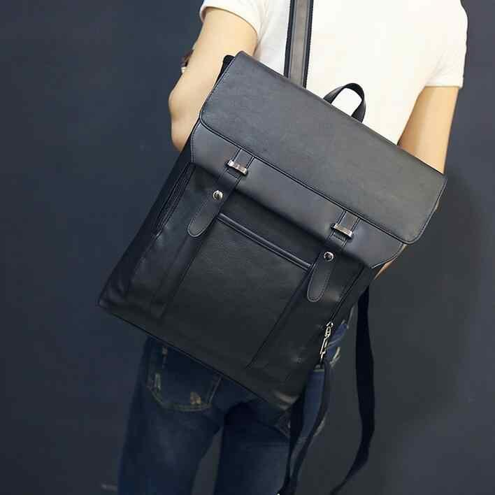 24caec7923df ... ANAWISHARE для мужчин кожаный рюкзак школьные ранцы для подростков  колледж студент Bookbags ноутбука Рюкзаки Дорожные сумки ...