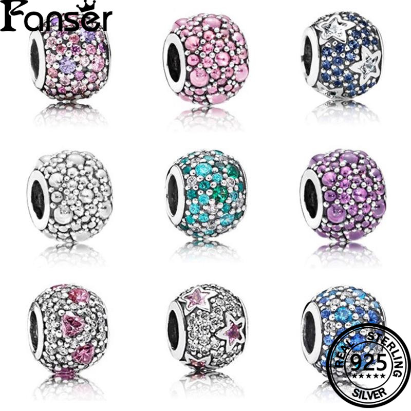 FANSER Circle Bead DIY Pandor 100% S925 Pure Silver Original Copy Suitable Women bracelet Bangle Jewelry Colourful Stone