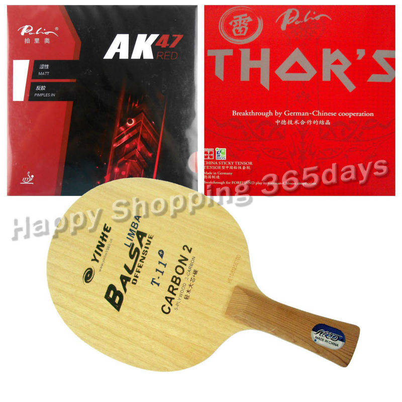 Pro Table Tennis PingPong Combo Racket YINHE Galaxy T-11+ with Palio AK47 RED and THOR'S shakehand long handle FL pro table tennis pingpong combo racket palio chop no 1 with kokutaku 119 and bomb mopha professional shakehand fl
