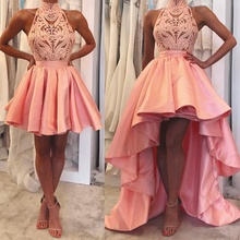 SuperKimJo High Neck Prom Dresses Long Lace Detachable Skirt Satin Pink Gown Low Evening Dress Robe De Soiree