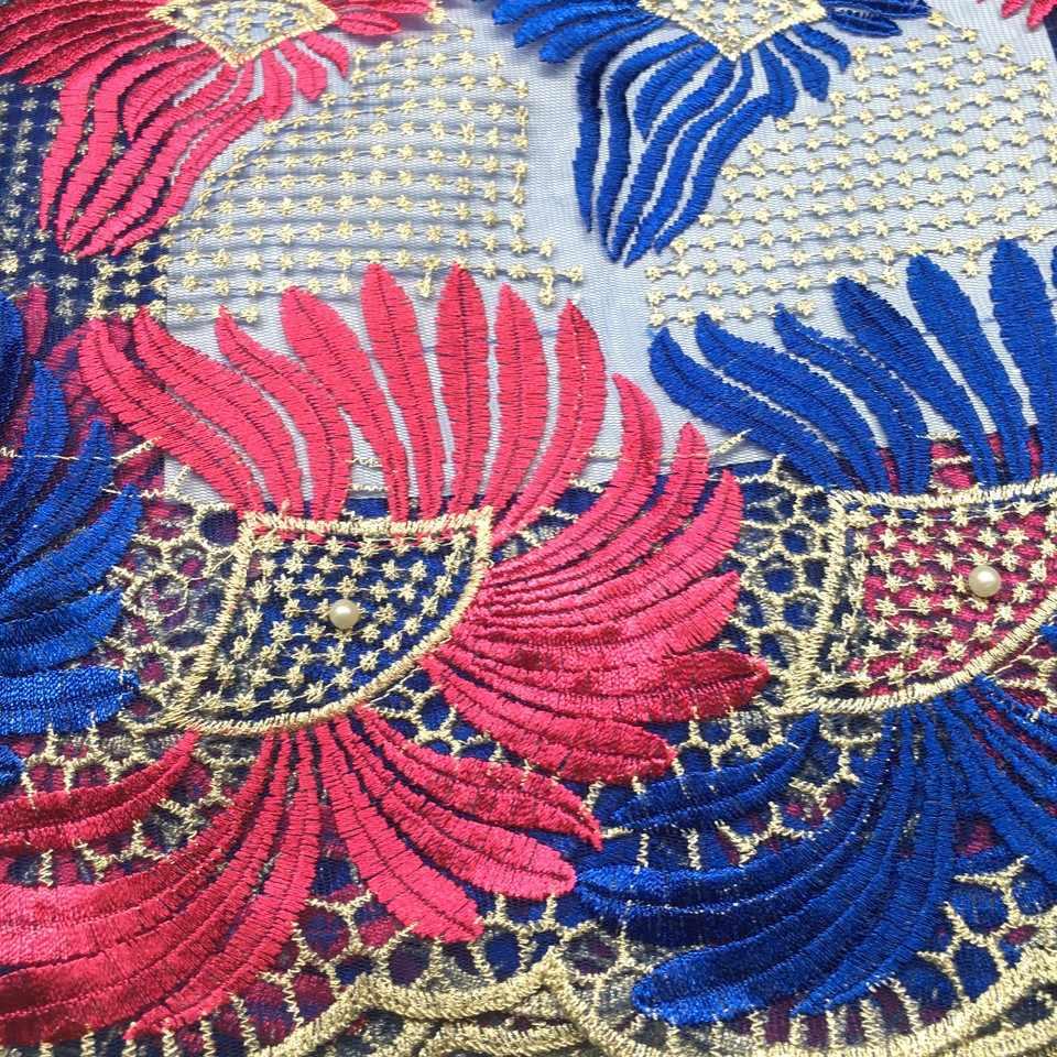 Kluge wahl Afrikanische spitze stoff Guipure-spitze Handcut organzaspitze französisch tüll stoff mit steinen perlen 5 meter Hohe Qualität ZJ