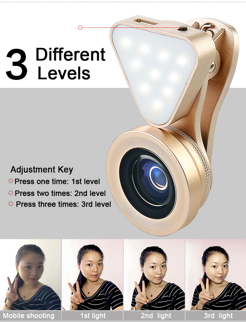 Phone Camera Lens with Beauty Led Flash Fill Light Adjustable Brightness,Wide Angle Lens,15X Macro Lens Clip-onLens for iPhone 5