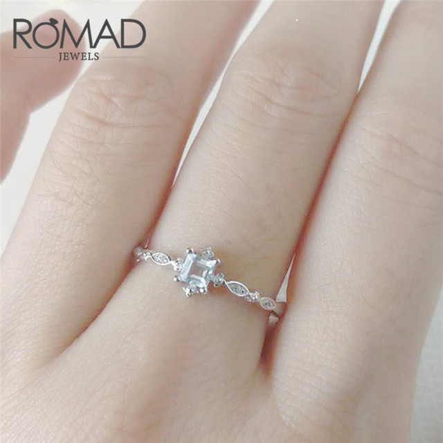 f2591ac078a4 Romad Elegant Sliver Color Thin Women Love Ring With Small Stones Eternity Engagement  Wedding Band Crystal