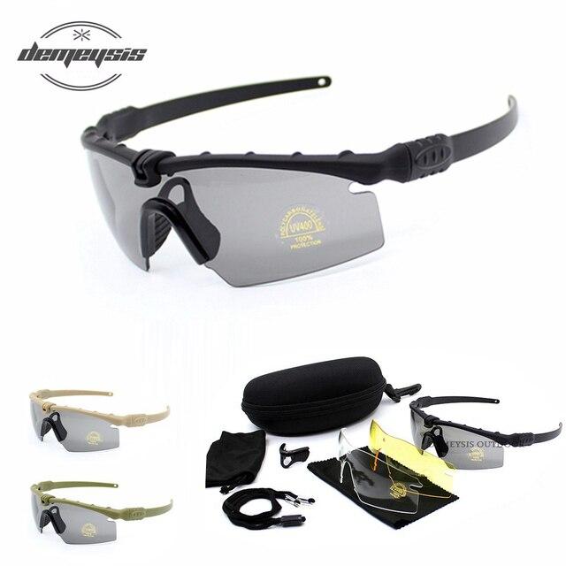 戦術的な偏光メガネ軍事ゴーグル防弾軍サングラス 3 レンズ男性と撮影眼鏡オートバイgafasハイキング 眼鏡