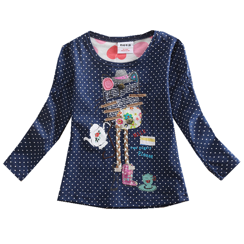 Baby Girl clothes Nova o-neck cotton child clothes fashion dot print embroidery cartoon  ...