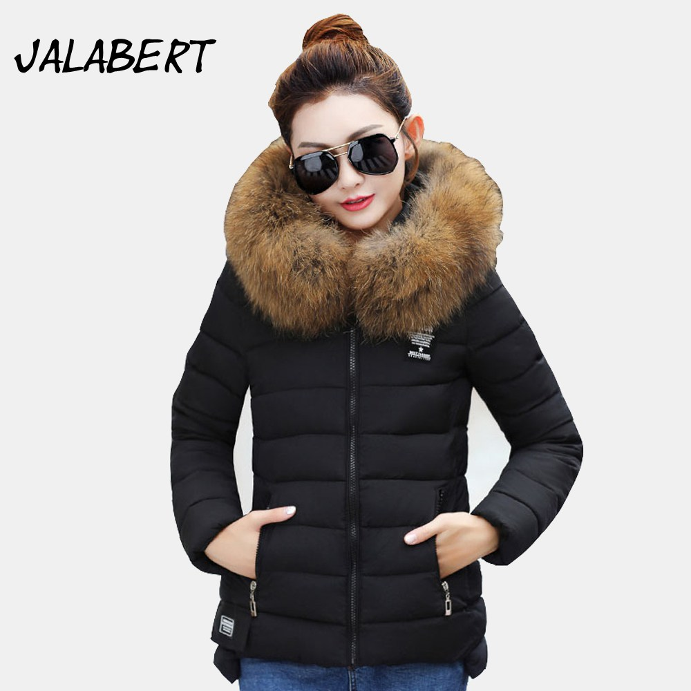 2017 winter new cotton coat women short Slim  big Fur collar Hooded thick jacket Female fashion printing warm Parkas 2017 winter new cotton coat women slim long hooded thick jacket female fashion warm big fur collar solid hem bifurcation parkas