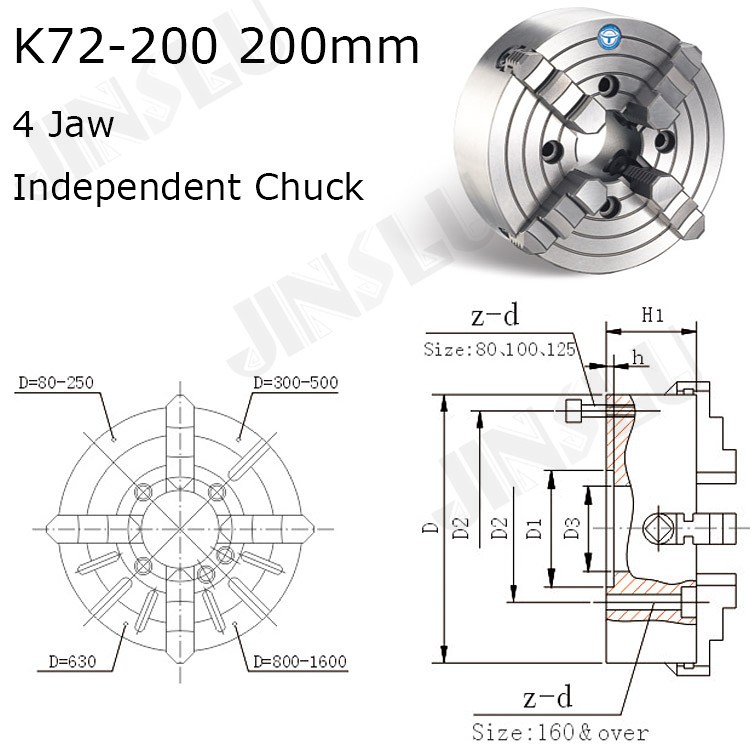 K72-200 4 Jaw Lathe Chuck Four Jaw Independent Chuck 200mm Manual for Welding Positioner Turn Table 1PK Accessories for Lathe