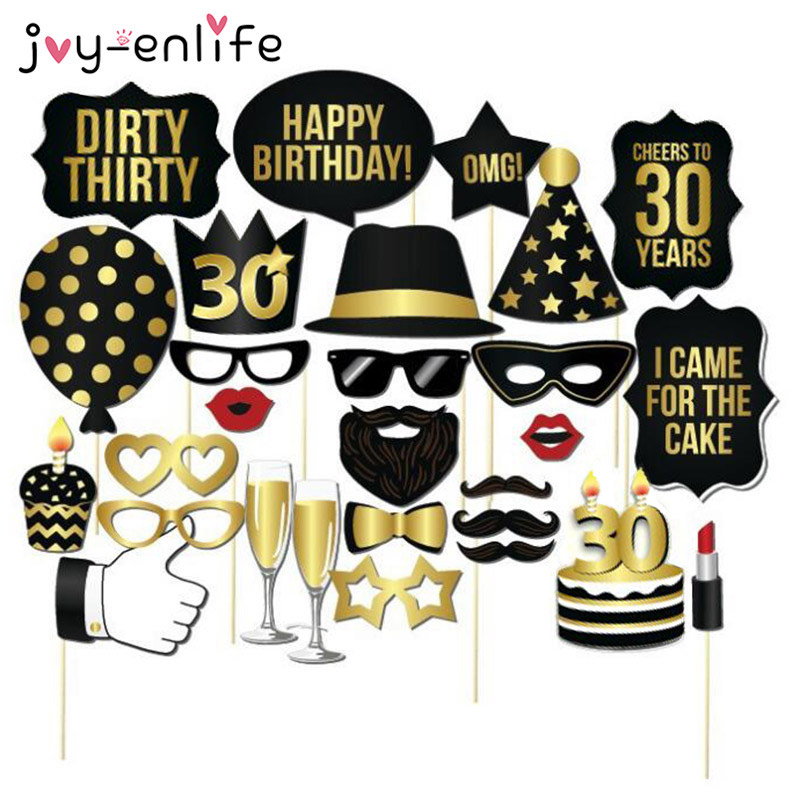 JOY ENLIFE 1set Man Woman Style 30th Birthday Photo Props Funny Mustache 30 Years Anniversary
