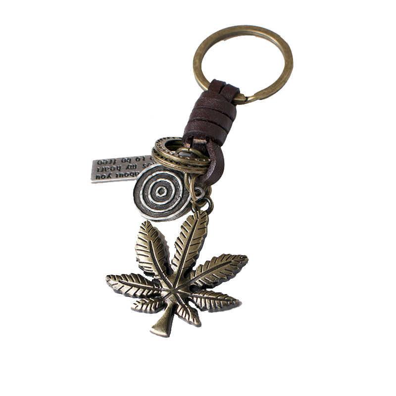 Новые Для мужчин кожаные Брелоки для ключей оригинальные ювелирные волк брелки Для Мужчин's Винтаж Цепочки Кольца Для Ключей Кроссовый велосипед аксессуары груза падения