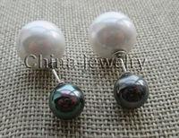 Precio al por mayor 16new ^ ^ ^ ^ 10-16mm brillante negro + blanco redondo perfecto mar concha de perla pendiente-925 plata