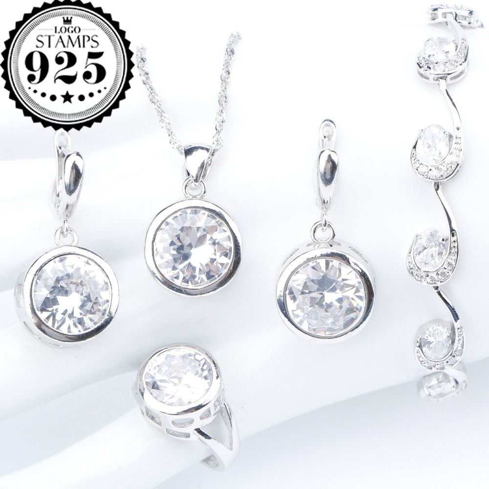 Natural Stones Silver 925 Wedding Jewelry Sets White Zircon Pendant Necklace For Women Bracelets Earrings Rings Set Gift Box natural stones silver 925 wedding jewelry sets white zircon pendant necklace for women bracelets earrings rings set gift box