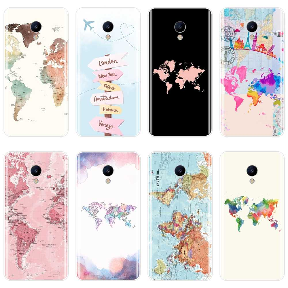 Soft Phone Case For Meizu M6 M6S M6T M5 M5C M5S M3 M3S M2 Silicone World Map Travel Cool Back Cover For Meizu M6 M5 M3 M2 Note
