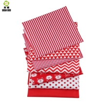 Shuanshuo  7pcs/lot New Red Floral Series Cotton Patchwork Fabric Fat Quarter Bundles For Sewing Doll Cloths 40*50cm