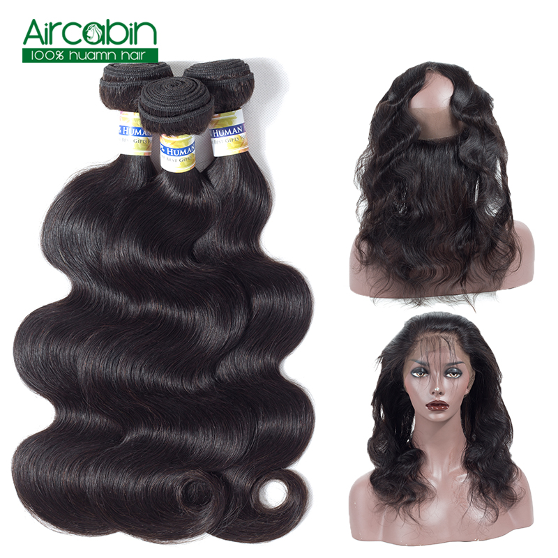 360 Lace Frontal with Bundle Body Wave Brazilian Hair Extension 100% Human Hair Weave 3 Bundles with Frontal Remy Aircabin Hair