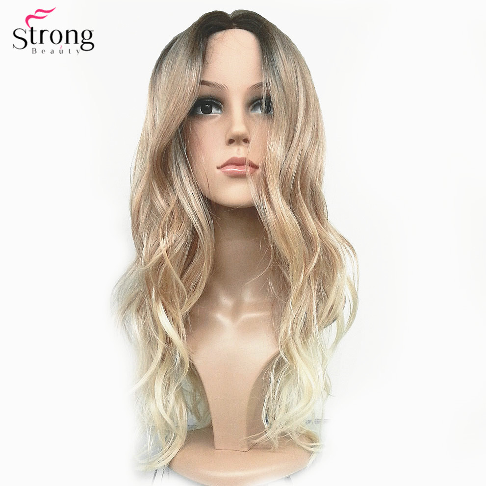 StrongBeauty Women s Ombre Wigs Synthetic Natural Long Wavy Brown Blonde Highlights Full Wig Hair