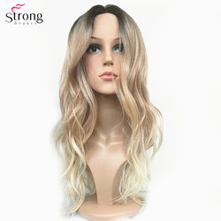 StrongBeauty Women's Ombre Wigs Synthetic Natural Long Wavy Brown/Blonde Highlights Full Wig Hair