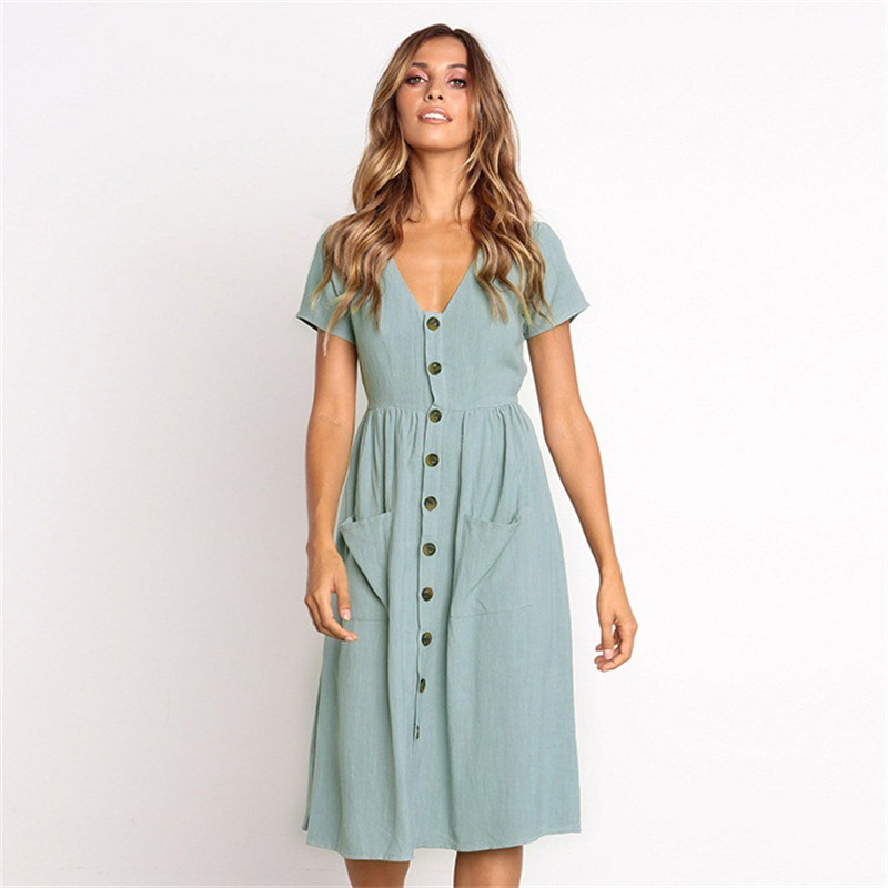 New Elegant Pocket Button V Neck Short Sleeve Summer Dress Women Fashion Sexy Dress Empire Dress Female