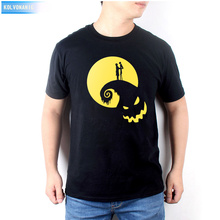 Halloween Funny Nightmare Before Christmas Ghost Moon Lovers Fashion Printing T Shirt Casual Round Neck Mens T-Shirts Plus Size