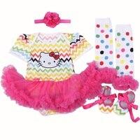 2017 Princess Newborn Baby Rompers Dress Set Hello Kitty Kids Fancy Dress Party Clothing Newborns Bebe Jumpsuits 4PCS Baby Gifts