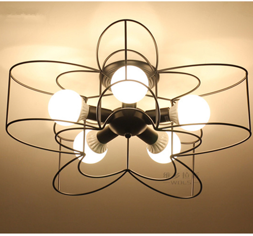Nordic Mini Modern Flower Ceiling <font><b>Light</b></font> Lamp Metal Wire Semi <font><b>Flush</b></font> <font><b>Mount</b></font> Led Star Fixture for Kids Bedroom Living Room Hallway