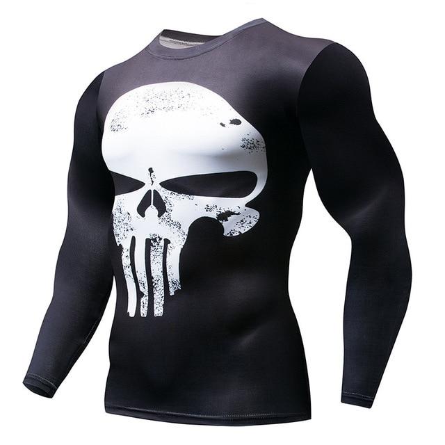 6b14950d0 Marvel Superman Punisher Rashguard Running Shirt Men T-shirt Long Sleeve Compression  Shirts Gym Tee Top Fitness Sport Shirt Men