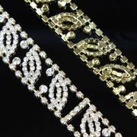 1 Yard Gold Rhinestone Bridal Trim Crystal Trim Cup Chain Trimming Headband Supply DIY Accessories