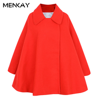 [MENKAY] Europe and the United States autumn and winter new women's small ladies lapel long-sleeved thick warm cape wool Coat
