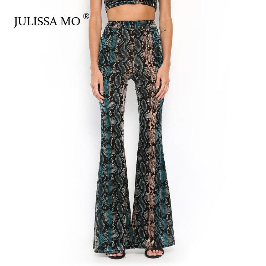 JULISSA MO Snake Print   Wide     Leg     Pants   Women 2018 Autumn Sexy High Waist Bell Bottom Trousers Casual Party Club Bodycon   Pants