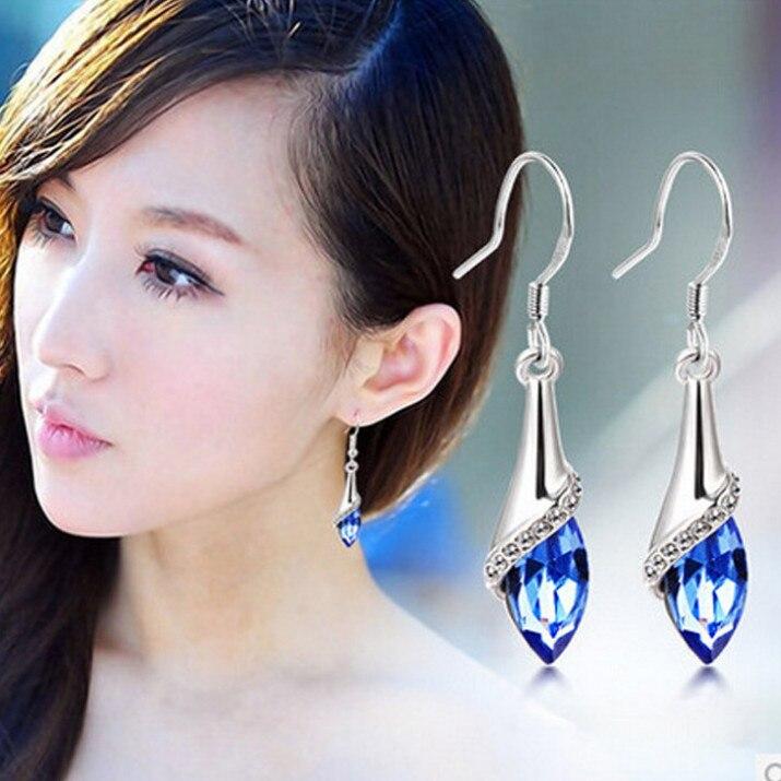 Hot Sale 18K/White Gold Plated Multicolor Austrian Crystal Water Drop Earrings Fashion Jewelry For Bridal Women Long Earrings