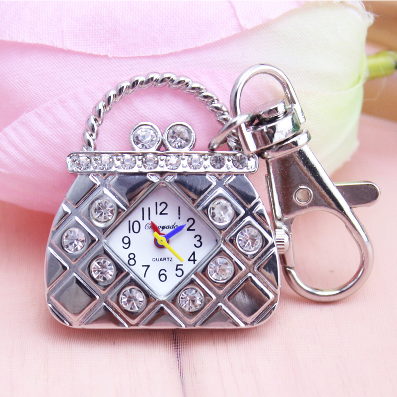 2018 Cyd New Handbags Shape With Diamond Quartz Ladies Pocket Watch Girls Women Luxury Crystal Fashion Key Chains Fob Watch